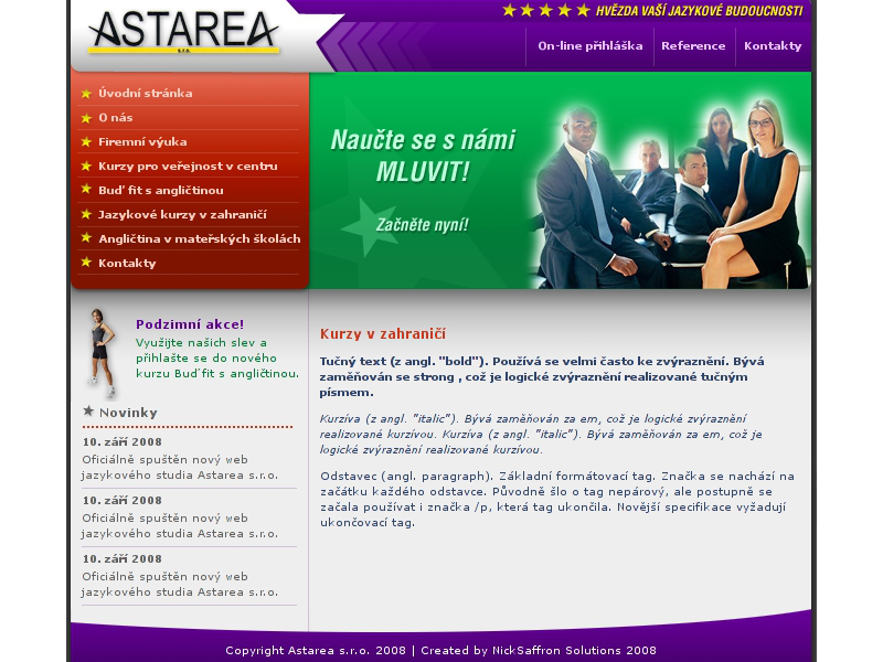 astarea.cz screenshot